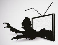 Zombi effrayant TV en silhouettes, illustration de vecteur illustration stock