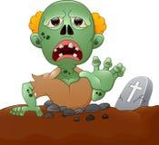 Zombi fantasmagorique sortant de la tombe illustration de vecteur