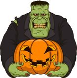 Zombi Frankenstein com abóbora Imagens de Stock Royalty Free