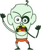 Zombi furioso de Halloween que protesta enérgico Imagen de archivo libre de regalías