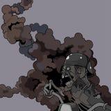 Zombi gritando assustador dos desenhos animados em um capacete no fumo Foto de Stock Royalty Free