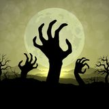 Zombi hands in Halloween night on the moon background Royalty Free Stock Photo