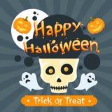Zombi heureux de partie de potiron de Ghost de crâne de Halloween illustration libre de droits