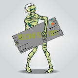 Zombi  holding a board for text . Welcome to the Party. Smiling Zombi  on grey. Vector Halloween template with a nice Zombi  holding a board for text . Welcome Royalty Free Stock Photo