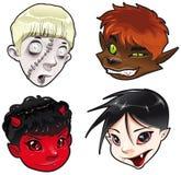 Zombi, homem-lobo, diabo e vampiro. Imagens de Stock
