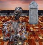 Zombi mecánico en la ciudad futura Imagen de archivo libre de regalías