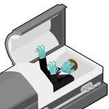 Zombi no caixão Homem inoperante verde que encontra-se no caixão de madeira corpse Fotos de Stock Royalty Free