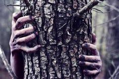 Zombi ou monstre se cachant derrière un arbre Photographie stock