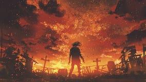 Zombi que anda no cemitério queimado ilustração royalty free