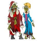 Zombi Santa Claus dos desenhos animados e zombis da donzela da neve Foto de Stock Royalty Free