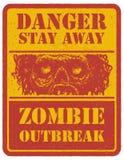 zombi Signal d'avertissement Tiré par la main Vecteur Photographie stock libre de droits