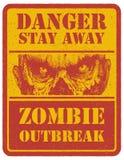 zombi Signal d'avertissement Tiré par la main Vecteur Image stock