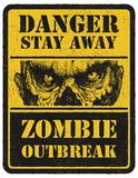 zombi Sinal de aviso Mão desenhada Moeda electrónico Fotos de Stock