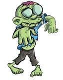 Zombi vert mignon de dessin animé. Image libre de droits