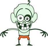 Zombi vilain de Halloween se sentant gêné Images libres de droits