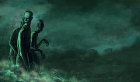 Zombieën in de begraafplaats stock illustratie