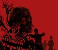 Zombieën op rood Royalty-vrije Stock Afbeeldingen
