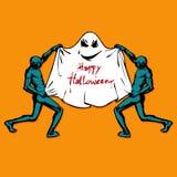 Zombie και χαριτωμένο αστείο φάντασμα ευτυχείς αποκριές Επίπεδο ύφος Στοκ φωτογραφία με δικαίωμα ελεύθερης χρήσης