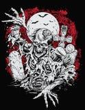 Zombie που αυξάνεται από τον τάφο Διανυσματική απεικόνιση