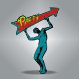 Zombie που κρατά ένα βέλος-διαμορφωμένο σημάδι Τέχνη έννοιας cartoon Στοκ Φωτογραφία