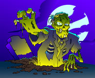 Zombie. A scary zombie is coming out of his grave to get you Royalty Free Stock Photos