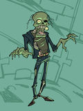 Zombie. Illustration of a lonely zombie on the background of a cemetery Royalty Free Stock Image
