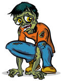 Zombie. Green Crouching Zombie Character Illustration Stock Images