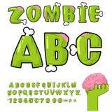 Zombie ABC Beenderen en hersenen verschrikkings monstr doopvont Royalty-vrije Stock Afbeeldingen