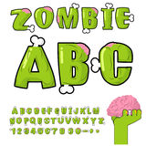 Zombie ABC. Bones and brains. horror monstr font.  Royalty Free Stock Images