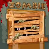 Zombie achter de houten deur stock illustratie