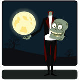 The zombie against the moon Royalty Free Stock Photo