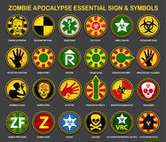 Zombie Apocalypse Essential Signs & Symbols. A complete collection of all necessary and useful signs and symbols for the Zombie Apocalypse Royalty Free Stock Photos