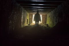 Zombie Apocalypse has come. Fear comes at night tunnel end of world Royalty Free Stock Photos