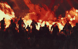 Zombie apocalypse. Illustration painting of zombie walking through burning fire flames Royalty Free Stock Images
