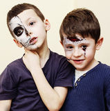 Zombie apocalypse kids concept. Birthday party celebration facep. Aint on children dead bride, scar face, skeleton together, halloween holiday Royalty Free Stock Photography