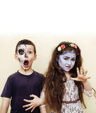 Zombie apocalypse kids concept. Birthday party celebration facep Royalty Free Stock Images