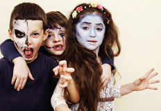 Zombie apocalypse kids concept. Birthday party celebration facep. Zombie apocalypse real kids concept. Birthday party celebration facepaint on children dead Royalty Free Stock Photography