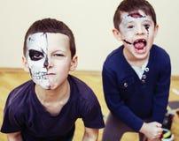 Zombie apocalypse kids concept. Birthday party celebration facep stock photo