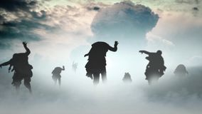 Zombie Apocalypse Mushroom Cloud 4K. Features zombie silhouettes walking forward in a roiling fog with a nuclear explosion in the background stock video