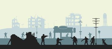 Zombie apocalypse scene. Silhouette of soldiers and dead peoples. Military landscape. Undead in city. Nightmare monsters. Zombie apocalypse scene. Silhouettes of royalty free illustration