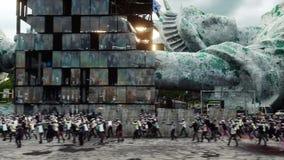 Zombie apocalypse in usa. walking crowd zombies. Realistic 4K animation.