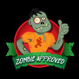 Zombie Approved Seal. Funny Zombie Character approving Halloween or Horror products Royalty Free Stock Image