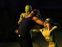 Zombie Attack 2 - Attack. 3D rendered series. Zombies attack a man at night Stock Images