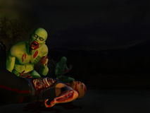 Zombie Attack 4 - Feast. 3D rendered series. Zombies attack a man at night Stock Images