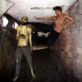 Zombie attack in tunnel. A zombie getting attacked by a man in tunnel royalty free illustration