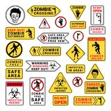 Zombie attention beware and caution sign set. Corpse danger emblem. Vector flat style cartoon illustration isolated on white background stock illustration