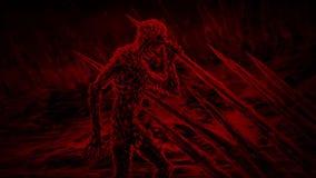 Zombie auf den Stangen, die seine Hand im Wind wellenartig bewegen stock video