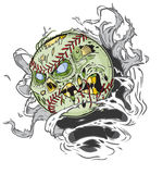 Zombie Baseball Ripping out of the Background Royalty Free Stock Photography