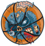 Zombie Basketball Vector Cartoon. A Zombie Basketball Vector Cartoon! Color elements are in a separate layer in the .eps for easy customization vector illustration