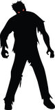 Zombie. Black silhouette isolaed on white vector illustration